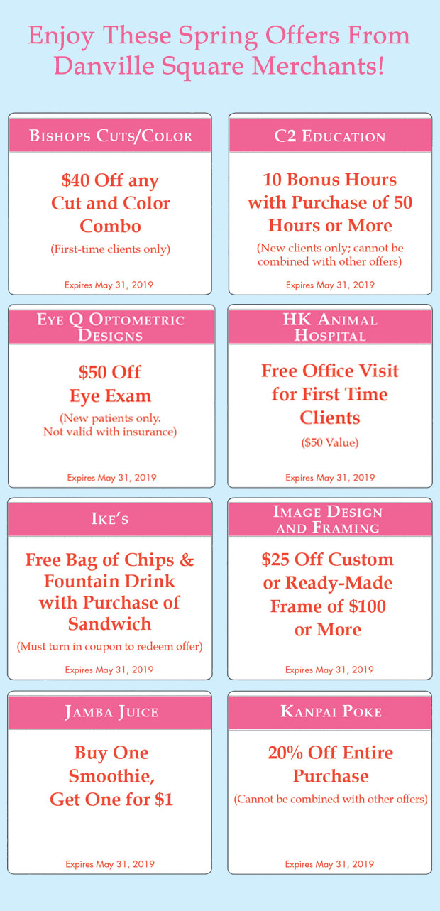 danville square spring coupons 2019